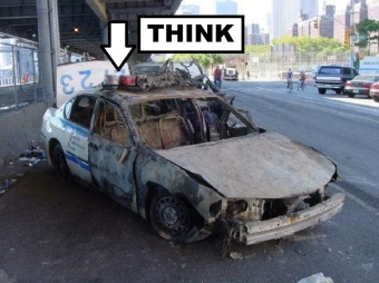 BEST Melted cop car 911 1000 THINK