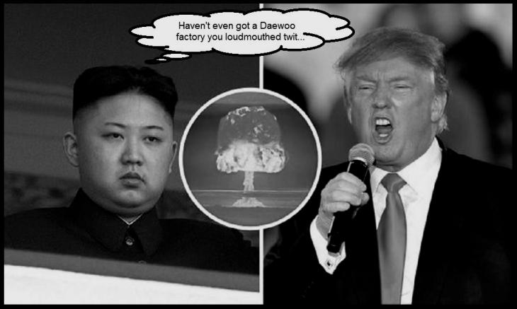 Trump Grump Kim loudmouth Korea