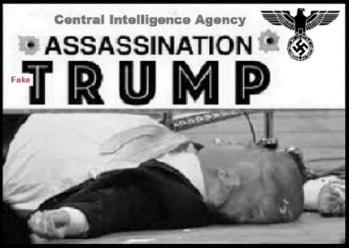 Trump Nazi assassination FAKE RED BW 520