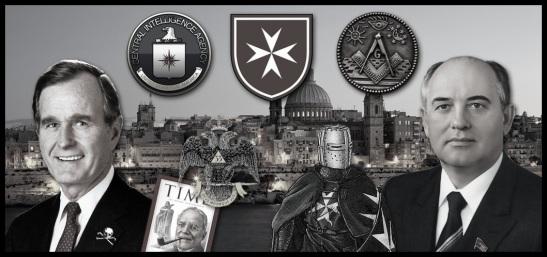 cia-masonry-malta-collage Bush Gorbachev
