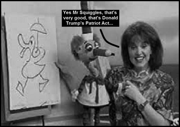 Mr Squiggles Trump Patriot Act 600 BW
