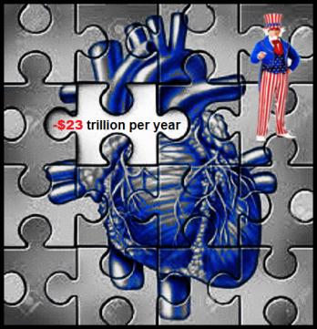 BLUE HEART Uncle Sam Jigsaw minus 23 trillion per year