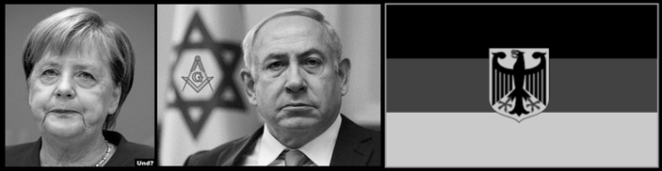 Doucheland German flag Merkal Netanyahu LARGE NO COLOR