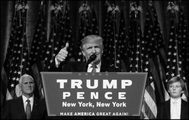 Trump Pence make America great again BW