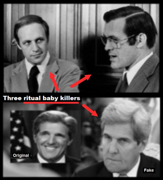 Cheney Rumsfeld fake Kerry + original with ARROWS 560