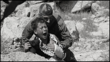 Palestinian boy and Israeli soldier maybe BW