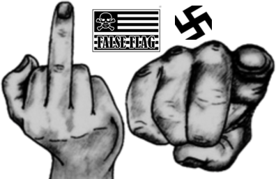 Swastika false flag finger 400 Trans