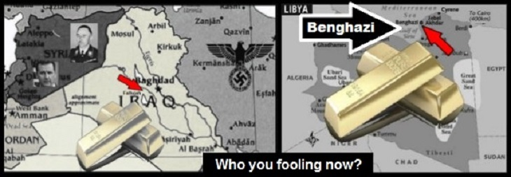 Iraq Libya BILLIONS IN GOLD ~ Who you fooling now 730