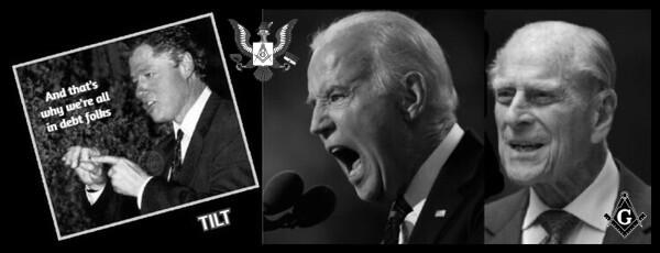 Bill Clinton Masonic finger-fcuk tilt Biden Prince Philip DEBT 600