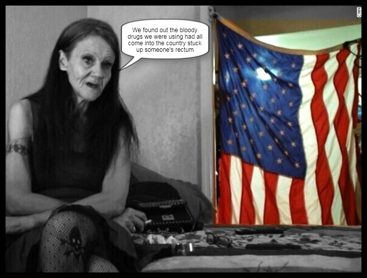A Heroin addict Allie with American flag DRUGS UP SOMEONE'S RECTUM