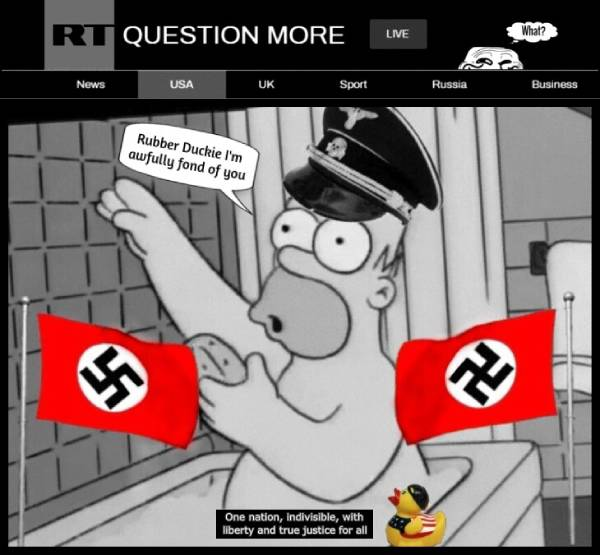 RT Grin Guy Slow Homer Nazi edit RED COLOR SPOTTING PATRIOT ACT Rubber Ducky 600