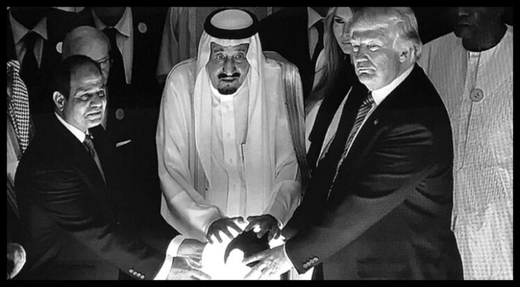 TRump Saudi King magic orb BW 730