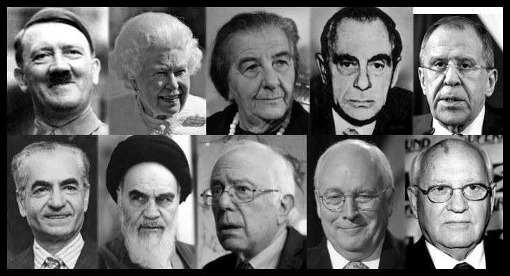 Hitler Queen Golda Meir Kutschmann Lavrov Shah Ayatollah Sanders Cheney Gorbechev BORDER 730