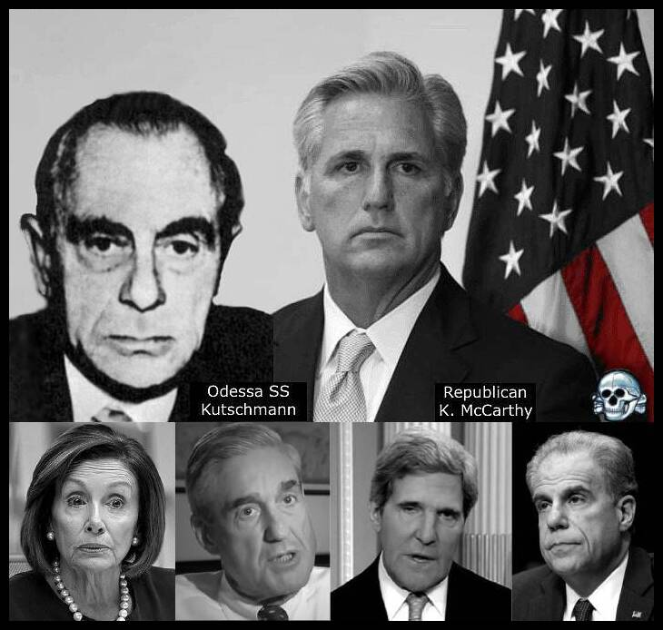 Kevin McCarthy Kutschmann Pelosi Mueller Faux Kerry Horowitz RED Death's Head 730 BORDER