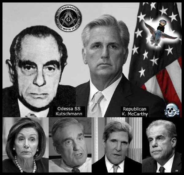 Kevin McCarthy Kutschmann Pelosi Mueller Faux Kerry Horowitz RED Death's Head Freemason Dumbo 600