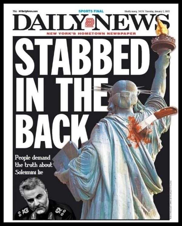 New York Daily News stabbed in the back Soleimini lie BORDER