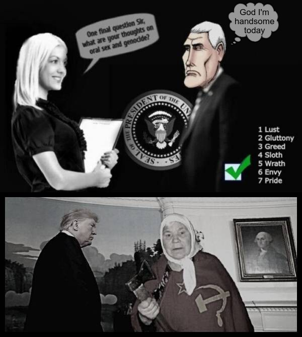Pence interview _ Oral sex and genocide Faux Trump Russian mother 600