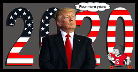 TRUMP 2020 flag thing border FOUR MORE YEARS SKATEBOARD 460